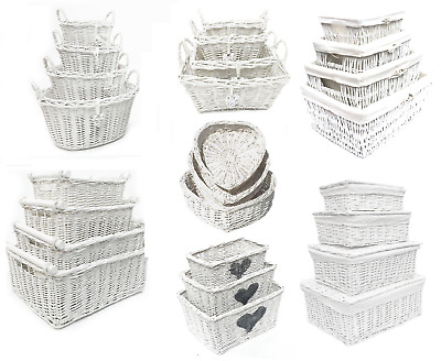 White Shabby Chic Wicker Kitchen Crafts Home Storage Hamper Basket With Handle • 11.99£