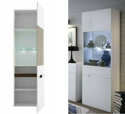 Modern White Gloss Tall Glass Display Cabinet Unit LED Light Black Brown Azteca • 229.95£
