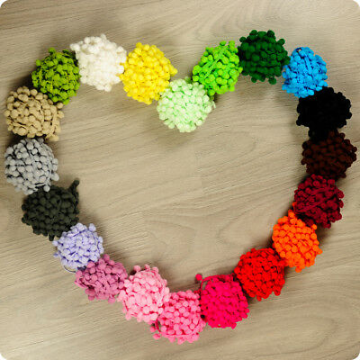 2m 10m 20m | Bobble Trim Pom Pom Braids Fringe | White Pink Blue Black Red Green • 1.99£