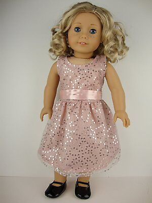 $14 • Buy Fancy Dusty Pink Dress With Sequins Designed For 18 Inch Dolls