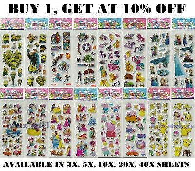 Children Kids Cartoon Characters Stickers Party Bag Fillers Scrap Book Gift Toys • 1.49£
