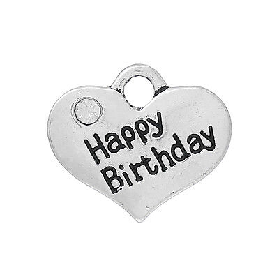 £1.75 • Buy 5 Antique Silver Happy Birthday Heart Charms Pendant~embellishments~chains (72)