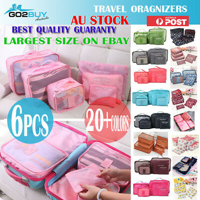 AU10.95 • Buy 6PCS Travel Luggage Organizer Set Backpack Storage Pouches Suitcase Packing Bags
