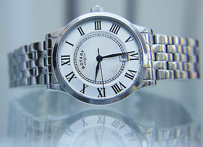 ROTARY Mens Watch SLIM Stainless Steel Easy To Read RRP £180 Boxed UK Seller • 69.99£