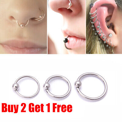 Surgical Steel Silver Ball Closure Lip Ring Ear Nose Ring Eyebrow Hoop Ring  • 0.99£