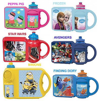 Combo Set Kids School Lunch Box & Sports Water Bottle Select Your Character New • 6.99£