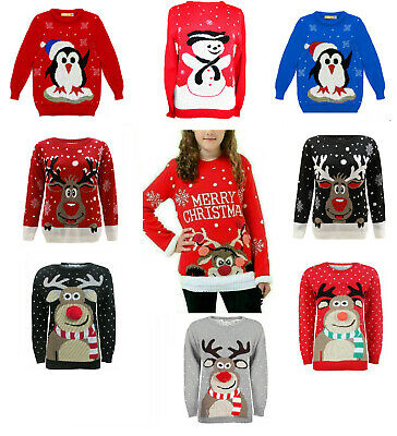 Girls Boys Christmas Rudolph Snowman Penguin Xmas Tree Jumpers Pullover 3-14 Yr • 9.99£