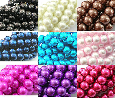❤ 3,4,6,8,10,12mm Glass Pearls Beads CHOOSE COLOURS SIZES Jewellery Making UK ❤ • 0.99£