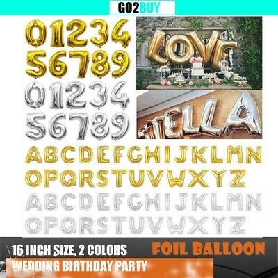 AU1.65 • Buy 16 /40  Gold/Silver Foil Letter Number Balloon Birthday Wedding Party Decoration