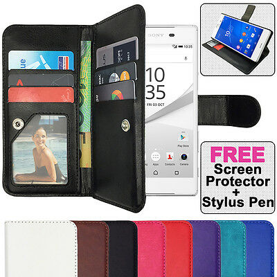 AU10.95 • Buy Premium Leather Flip Case Wallet Stand Cover For SONY Xperia Z1 Z2 Z3 Z5 Compact