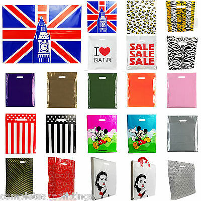PLASTIC CARRIER BAG - Modern Printed Strong Gift Shopping Bags- ALL SIZES/COLORS • 8.50£