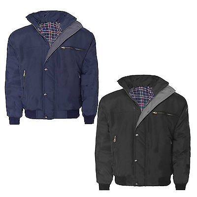 £18.98 • Buy Mens Sky Diver Bomber Warm Padded Quilted Check Lined Heavy Work Jacket Coat Top