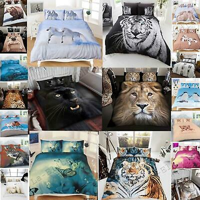3D Animal Print Duvet Cover Set Bedding Super King Size Double Single New Quilt • 18.99£