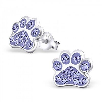 £5.99 • Buy Sterling Silver Dog Paw Footprint Stud Earrings With Crystals