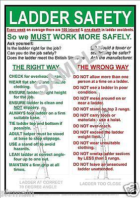 £7.99 • Buy Health And & Ladder Safety Workplace A3 Laminated Poster Legal Everyday Value