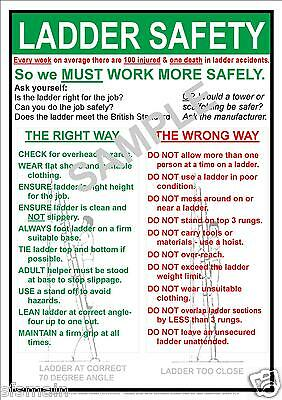 £3.99 • Buy Health And & Ladder Safety Workplace A4 Laminated  Best Value Compliance Poster