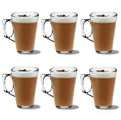 £8.70 • Buy 6 LATTE GLASSES For Coffee Tea Cappuccino 240ml Costa Hot Cold Drink Cups Mugs
