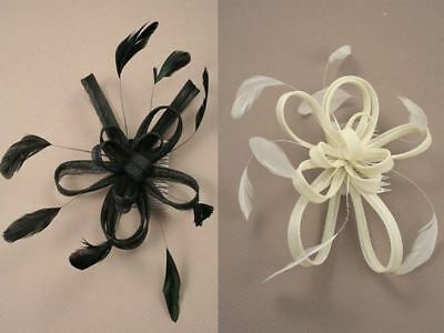 Large Coiled Net & Feather Fascinator On Clear Comb Various Colours Wedding Prom • 4.98£