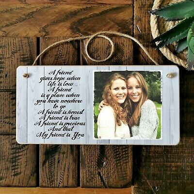 £6.99 • Buy 8x4  Personalised Photo Plaque Sign Friendship Best Friend BFF Birthday Gift .