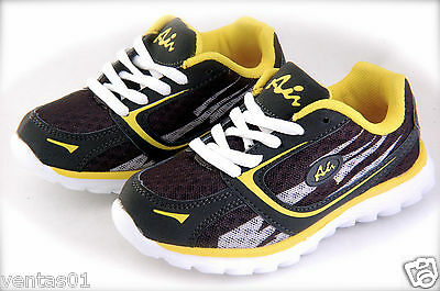 £14.54 • Buy Boy's Sport Tennis Shoes Easy To Wear Grey & Yellow Light Weigh