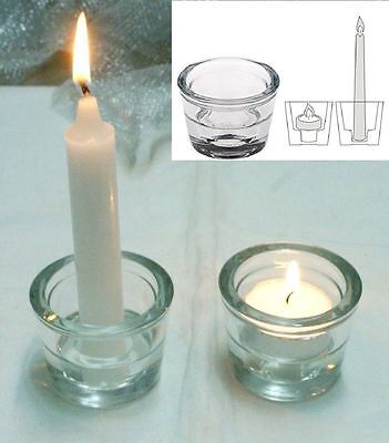 £5.24 • Buy 2 In 1 Votive Taper Tea Light Stick Candle Holder Glass Party Decor Wedding