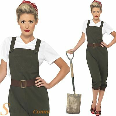 Ladies Land Girl World War Army Outfit WW2 1940s Fancy Dress Costume Size 8-26 • 28.99£