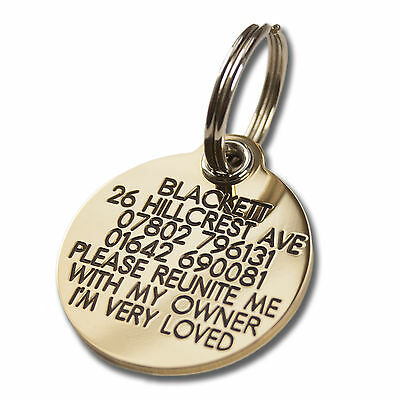 REINFORCED Deeply Engraved Dog Tag, 33mm Extra Tough Solid Brass • 8.50£