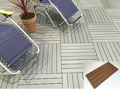 £8.15 • Buy Wood Composite Decking Tiles - No Staining - Easy Lay - Easy Clean - DIY