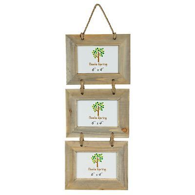 £8.99 • Buy Wooden Shabby Chic Rustic Driftwood Triple Hanging Photo Picture Frame-6x4