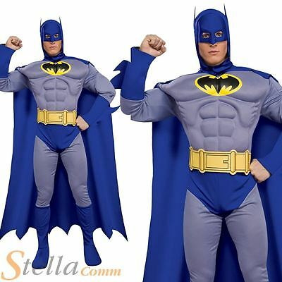 Adult Deluxe Brave Bold Batman Mens Fancy Dress Costume Halloween Party Outfit • 34.98£