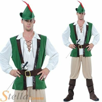 Mens Deluxe Robin Hood Medieval Fancy Dress Costume Adult Outfit & Hat • 21.99£