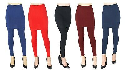 NEW Womens Ladies Pencil Seamless Stretchy FullLength Leggings With Skirt • 10.90£