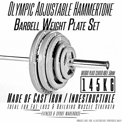 AU655 • Buy 145KG Olympic Bar & Weight Set 7FT OLY Barbells Hammertone Cast Iron Plates