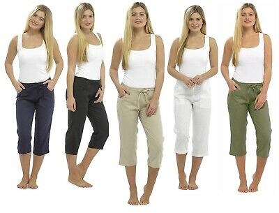Women's Linen 3/4 Length Trousers Ladies Cropped Capri Pants Shorts Size 10-20 • 12.95£