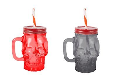 Skull Glass Drinking Jar With Screw Lid And Straw.  Set Of 3 • 8.99£