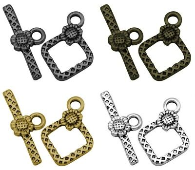 ❤ Silver Gold Bronze RHOMBUS TOGGLE CLASPS Choose Style 21mm Jewellery Making ❤ • 0.99£