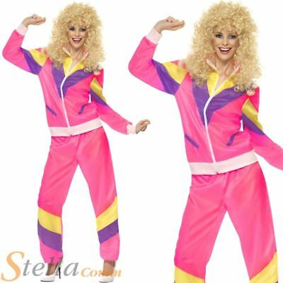 Ladies Pink Shell Suit Costume Scouser Retro 80s Tracksuit Fancy Dress Outfit • 24.99£