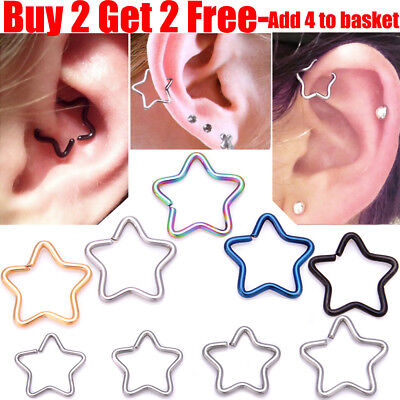 Surgical Steel Star Daith Ring Helix Ring Cartilage Tragus Ring Hoop Earring • 1.29£