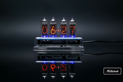 IN-14 NIXIE TUBE CLOCK ASSEMBLED WITH ENCLOSURE AND ADAPTER 4-tubes By MILLCLOCK • 111.08£