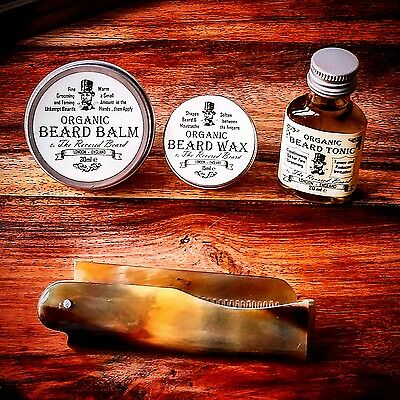 Organic Beard Oil, Beard Balm, Wax, Ox Horn Comb, Starter Kit By Revered Beard. • 12.99£