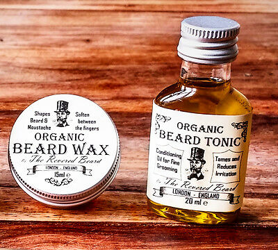 15ml Organic Moustache Wax + 20ml Organic Beard Oil By Revered Beard. Premium  • 7.99£