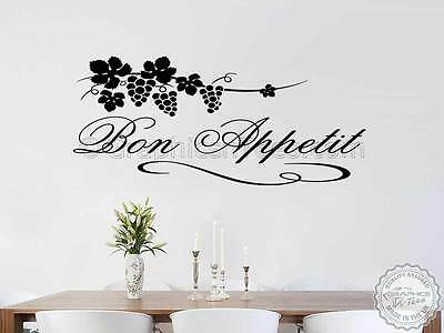 Bon Appetit Wall Sticker Kitchen Quote Decor Family Wall Sticker With Grapevine • 12.99£