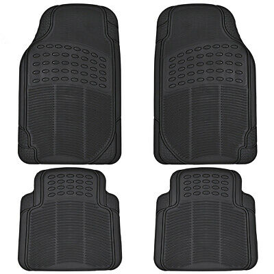 $19.50 • Buy Car Rubber Floor Mats For All Weather Sedan SUV Truck 4 PC Set Trimmable Black