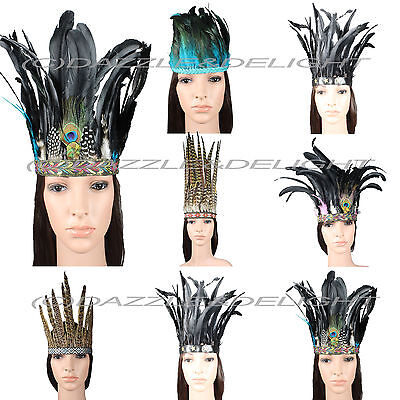 £9.97 • Buy Indian Feather Headdress Carnival Feather Headpiece Festival Fashion Hair Crown