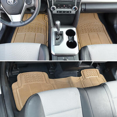 $21.90 • Buy Car Rubber Floor Mats For All Weather Heavyduty Tech 3 PCS Trimmable Beige