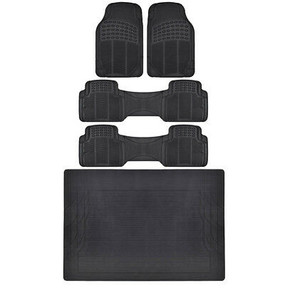 $47.50 • Buy All Weather Black Floor Mats For Truck Van 3 Rows W/ Trunk Mat BDK Quality Tech