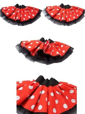 Red White Polka Dot Minnie Mouse Tutu Skirt Dress Costume Hen Party Book Week   • 7.99£