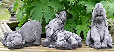 £15.99 • Buy Small Elephant Set 3 Pc Hand Cast REAL Stone Garden Ornament NOT PLASTIC/RESIN