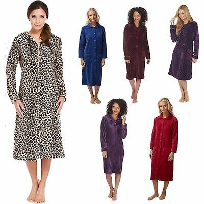 Ladies Zip/Button Front Soft Fleece Hooded Long Dressing Gown Housecoat 8 - 26 • 20.99£