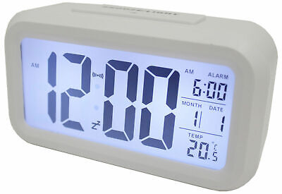 AU16.84 • Buy Light Sensor Alarm Clock W/ Backlit Display Portable Battery Operated White